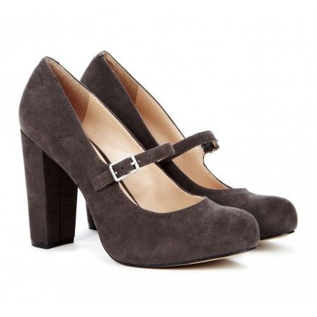 Mary Jane Heels in Charcoal Grey.