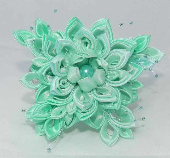Tsumami Kanzashi Flower brooch Forest Lake by LazuritLouise