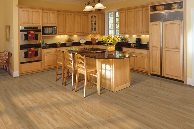 Light Wheat Oak Strip Laminate Wood Floors For Kitchen