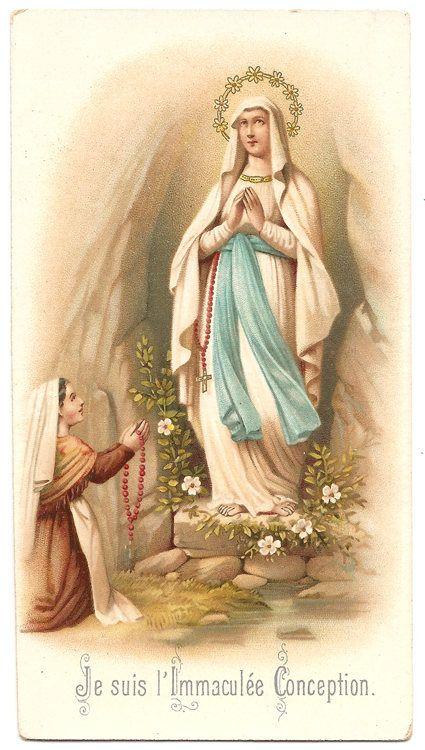 Our Lady of Lourdes & St. Bernadette in Grotto Antique Vintage
