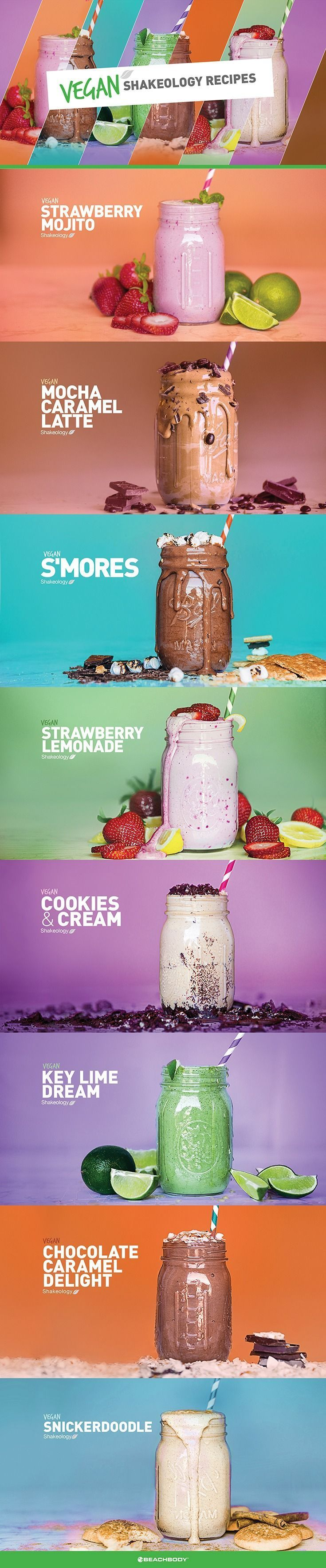 Healthy smoothies recieps | Vanilla Vegan Shakeology and Café Latte Vegan Shakeology are now available! Here's 8 of your favorite Shakeology recipes now dairy-free! // healthy recipes // shakeology recipe // smoothies // vegan recipe // dairy-free // drinks // beverages // snacks // desserts // high protein // Beachbody //