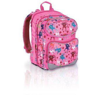 Plecak szkolny od 1 do 3 klasy z słodkim motywem kotków. Dziewczynki już nie muszą rozstawać się z ulubionym motywem- koty na stałe zagościły na plecaku Topgal :-)