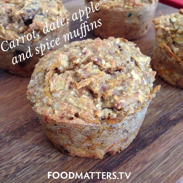 Carrot, Date, Apple & Spice Muffins.   This delicious muffin recipe is free from refined sugar and is a much healthier alternative than standard sweet muffins. The apple and dates offer a hint of sweetness and the almond meal gives texture and nuttiness.