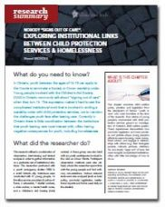 """Nobody """"Signs Out of Care."""" Exploring Institutional Links Between Child Protection Services & Homelessness - Homeless Hub Research Summary Series  http://homelesshub.ca/resource/nobody-%E2%80%9Csigns-out-care%E2%80%9D-exploring-institutional-links-between-child-protection-services#sthash.h8Ig22Eb.dpuf"""
