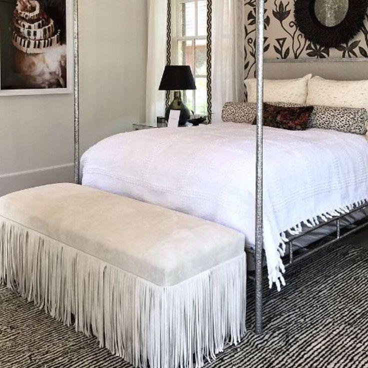 BRADLEY USA │Joni Bench In Perfect Cream/grey Neutral Suede Sporting  Bradley Fringe │ · Ottoman BenchMaster BedroomsInterior DesignBedroom ...
