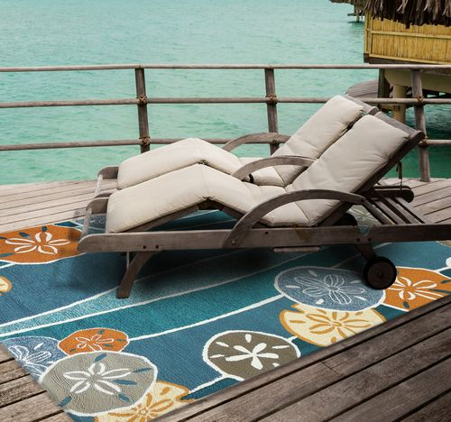 Fun colors and pattern for an outdoor living area! Beachcomber Coastal Rug