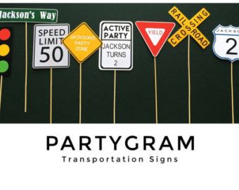 Take your pick of any 6 custom transportation signs for your child's party! Partygramshop.com