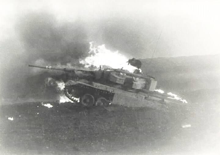 At Golan front IDF Shot Kal on fire as destroyed by Syrians in 1973 October War.