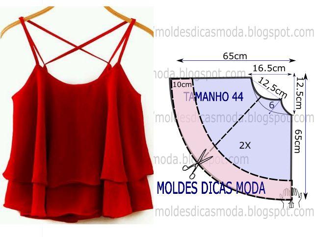 O desenho do molde de blusa godé vermelha não tem valor de costura tem que ser acrescentado. Apenas os moldes que são para imprimir têm valor de costura.
