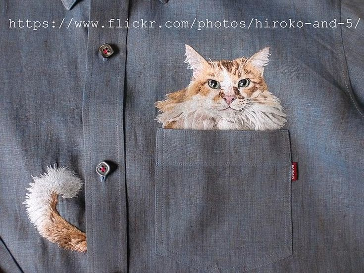 Broderie et chats par Hiroko Kubota
