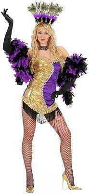 Disfraz de Vegas Show Girl Oro-Violeta para mujer