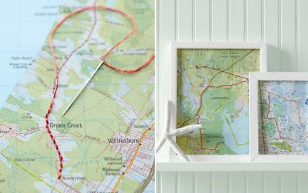"10 Travel Photo Keepsake Ideas- ""Thread"" the map to show where you've traveled. This would be perfect to show our road trips!!"