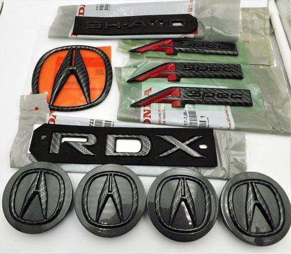 Acura RDX 2019-2020 Black Carbon Fiber Emblem Trunk Badge