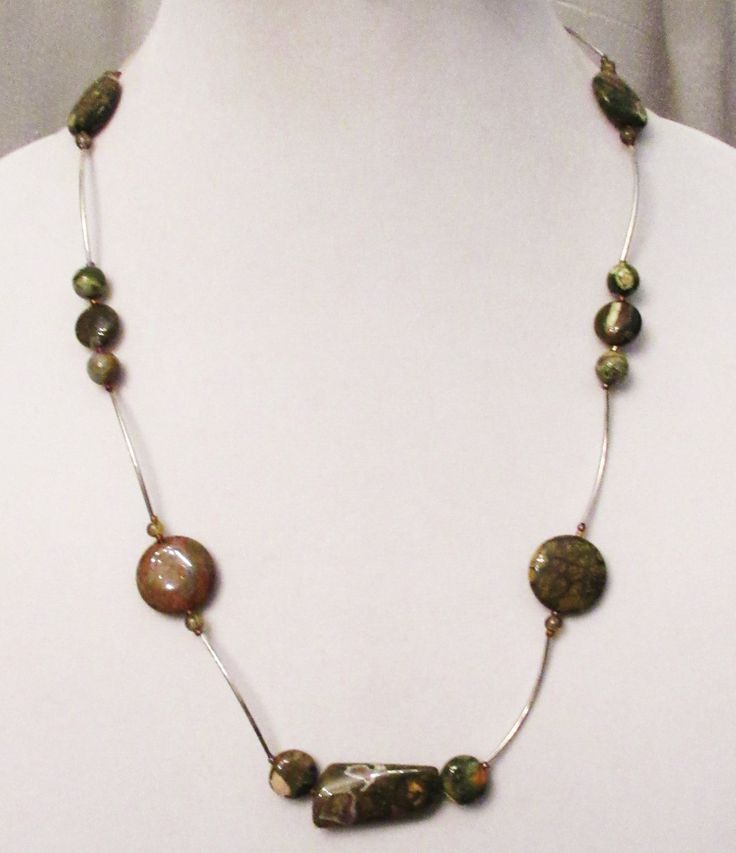 Rhyolite/Rainforest Jasper Jewelry, Handmade Rhyolite Reversible Noodle Necklace, Naturally Patterned Gems, Green Brown Gems, Healing Gems by DesignDimensions on Etsy