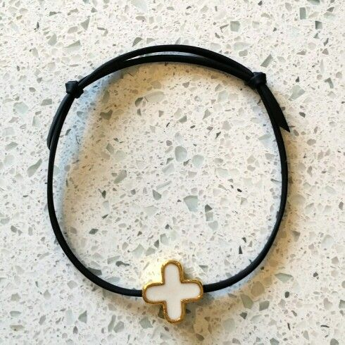 Adjustable black bracelet with white and gold cross. Perfect for martyrika (witness pins) for greek baptisms.
