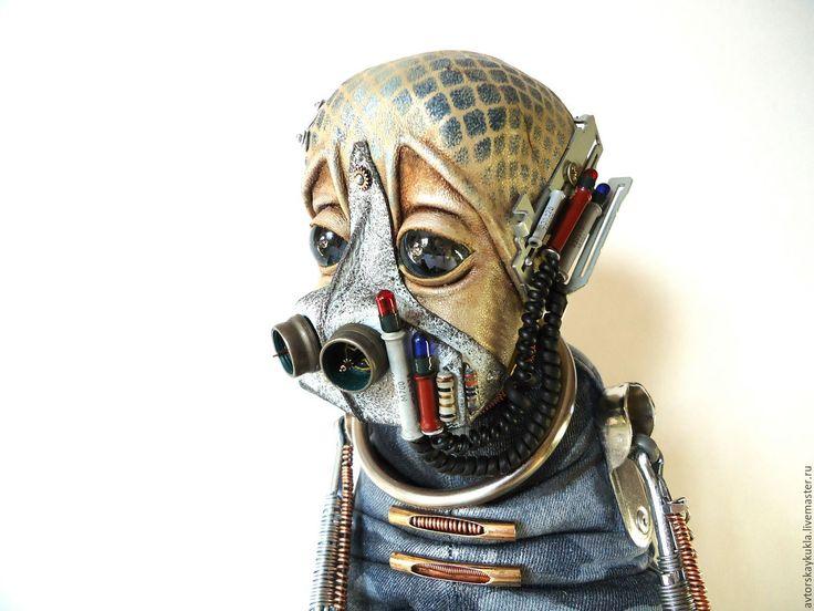 Купить Странник. - тёмно-синий, пришелец, стимпанк стиль, авторская кукла, коллекционная кукла