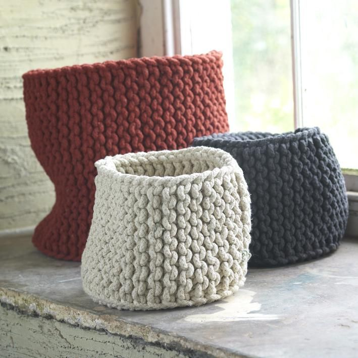 Hand Knitted Rope Baskets   Storage For Missing Parts And Bric A Brac