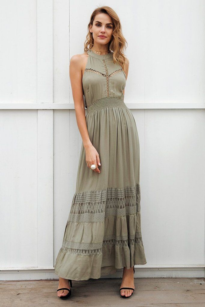 Olive Green Halter Maxi Dress