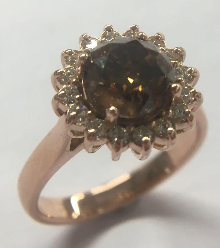 """Lady Di"" design still very much alive! #2ct #cognacdiamond with #meleediamonds in #rosegold  - #proudlymadeinSA"