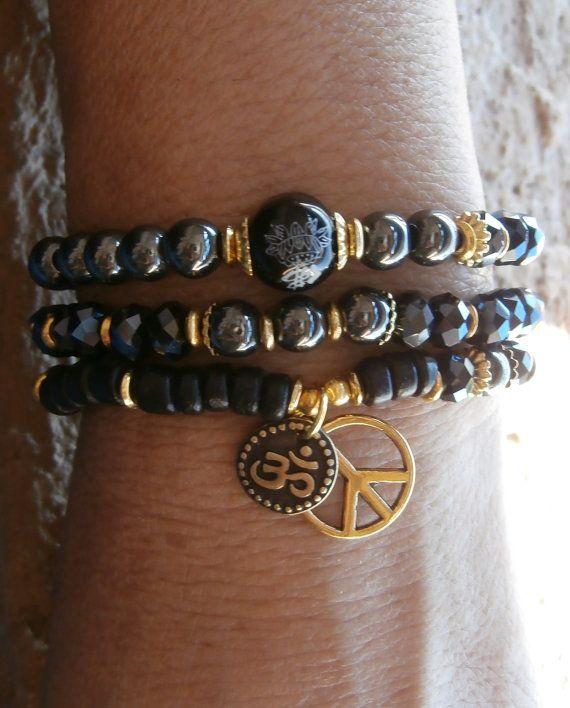 Safety & Strength set of 3 Yoga bracelets by LifeForceEnergy, $29.00
