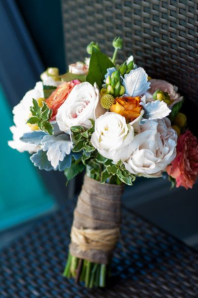 Wedding bouquet- white Gardenias with orange and pink accent flowers