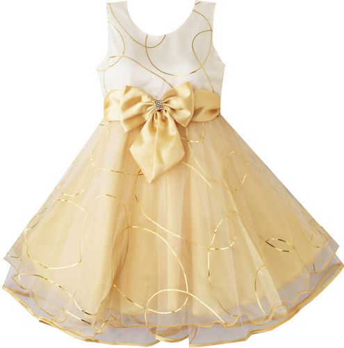 Girls Dress Champagne Multi-layers Wedding Pageant Kids Clothes Size 2-10 New