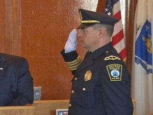 Chief Cafarelli being sworn in