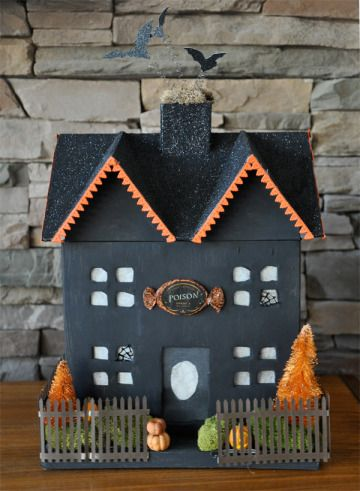360 best holiday halloween putz houses images on for How to make a cardboard haunted house