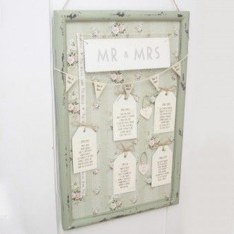 Vintage Style Green Floral Frame for Wedding Table Plan Idea - Unique & Unusual DIY
