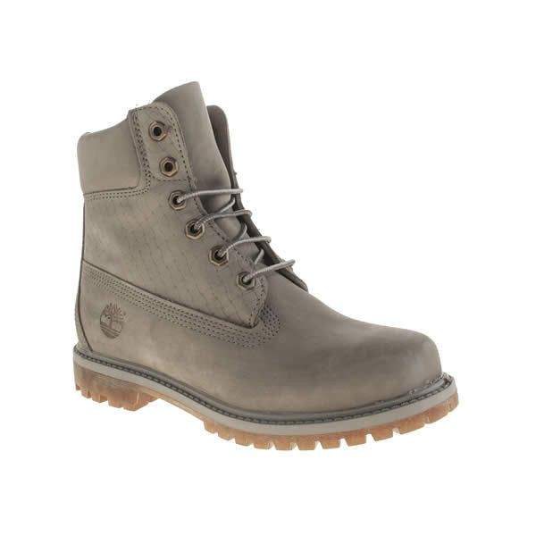 Timberland Grey 6 Inch Premium Emboss Boots 215 liked on Polyvore featuring