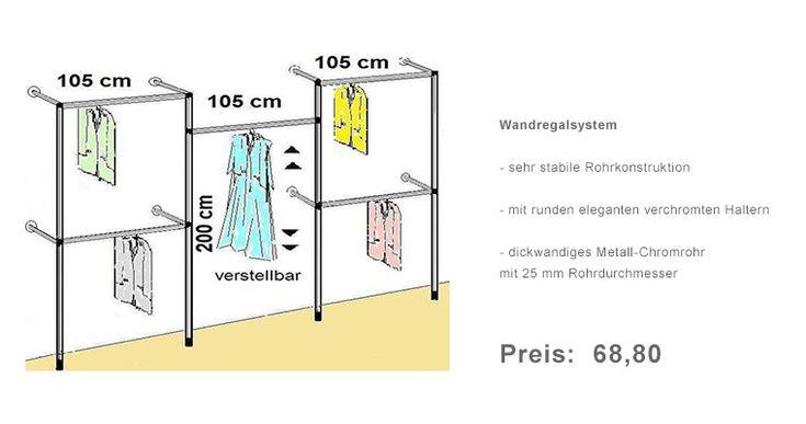 Wandregalsystem, Garderobensystem, begehbarer Kleiderschrank