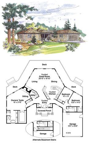 Shingle House Plan chp-20051 at COOLhouseplans.com   Total living area: 2292 sq ft, 3 bedrooms & 2 bathrooms.