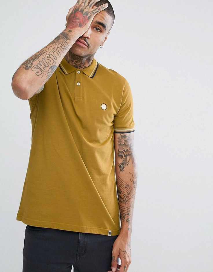 Pretty Green Barton Short Sleeve Tipped Polo Shirt In Yellow - Yellow