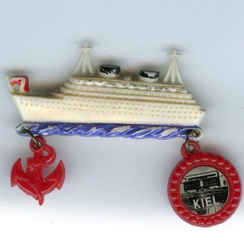40s-50s Plastic Cruise Ship Boat Dangle Pin
