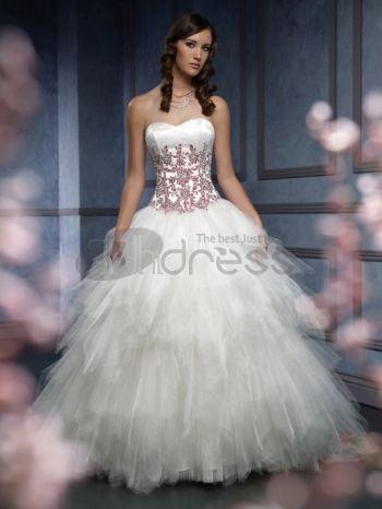 Abiti da Sposa Colorati-Senza spalline fidanzata ricamare bella gonfi abiti da sposa colorati