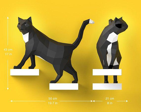 low poly paper sculpture decoration DIY Pre-Cut Papercraft Cat Assembly Kit 3D MODERN PUZZLE for walldecor ORIGADREAM