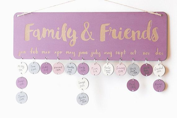 Plum Purple Birthday Board ~ Never forget another Birthday!