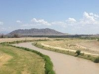 The Rio Grande River winds between Presidio, Texas and Ojinaga, Chihuahua. http://borderzine.com/2013/12/the-river-road/