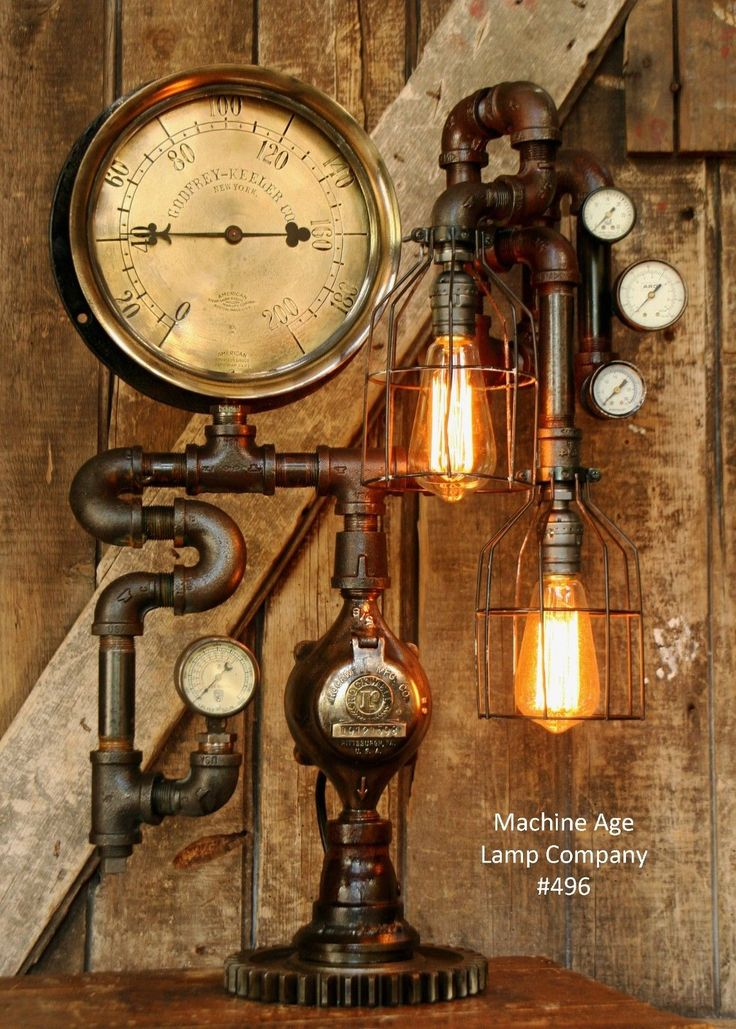 Steampunk Lamp Industrial Machine Age Steam Gauge Light