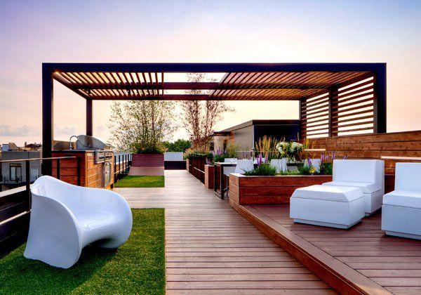 Pergola Hibrida En Roof Garden Sala De Exterior Pergolas De Madera Diseno De Terraza