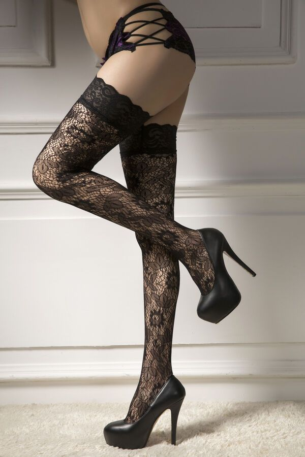 2a4806a0378 Women Punk Rivets Lace Thigh High Stockings Fishnet Hold Up Hosiery Socks  Black Lace Thigh High