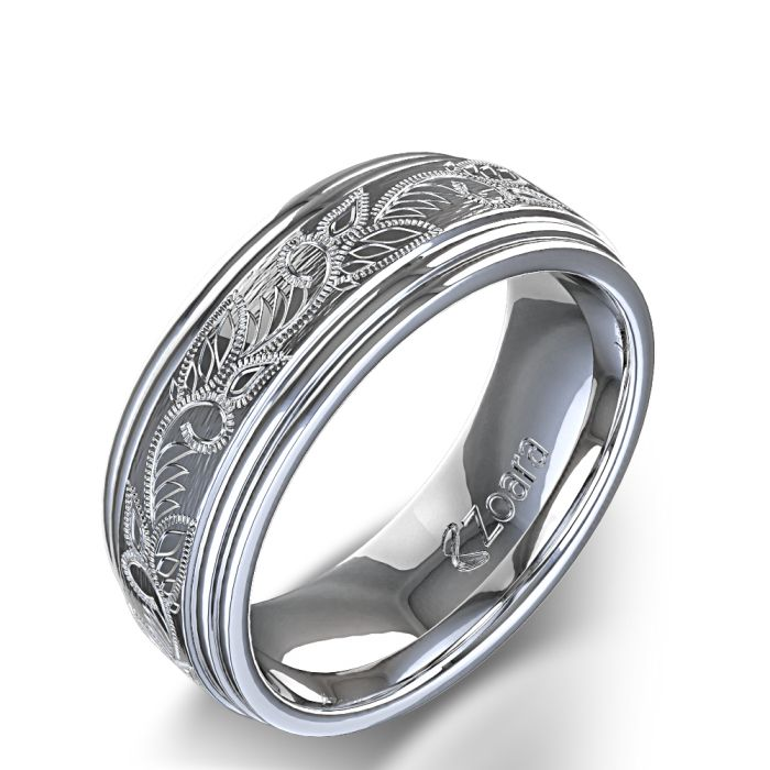 Vintage Scroll Design Men's Wedding Ring in Platinum