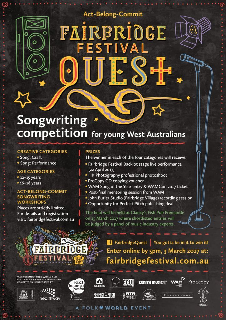 This is a great opportunity for young people to showcase their musical talent!  Visit the link for more info about the competition, and for info about our songwriting workshops in Bunbury, Albany, Mandurah and Perth. These workshops are great for young musicians to develop their skills and find inspiration for their entries!