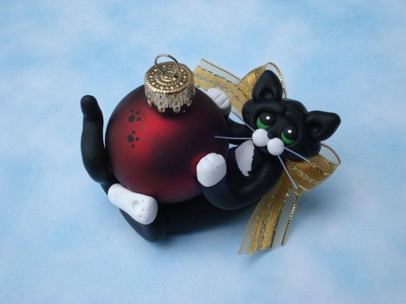 Polymer Clay Christmas Ornament Tuxedo Cat by HeartOfClayGirl, $12.95