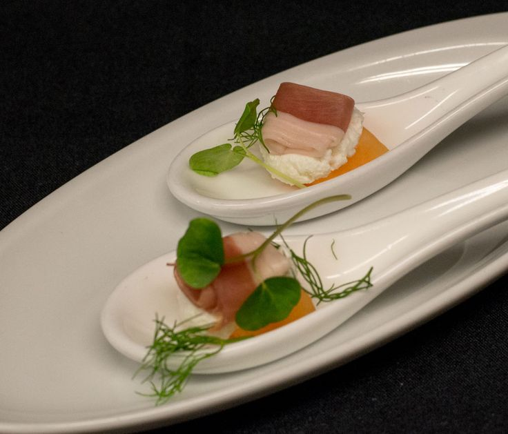 Elmhirst's Resort Valentine's Day Menu: Amuse Bouche - to amuse the mouth. Goat Cheese, melon, prosciutto, micro greens.