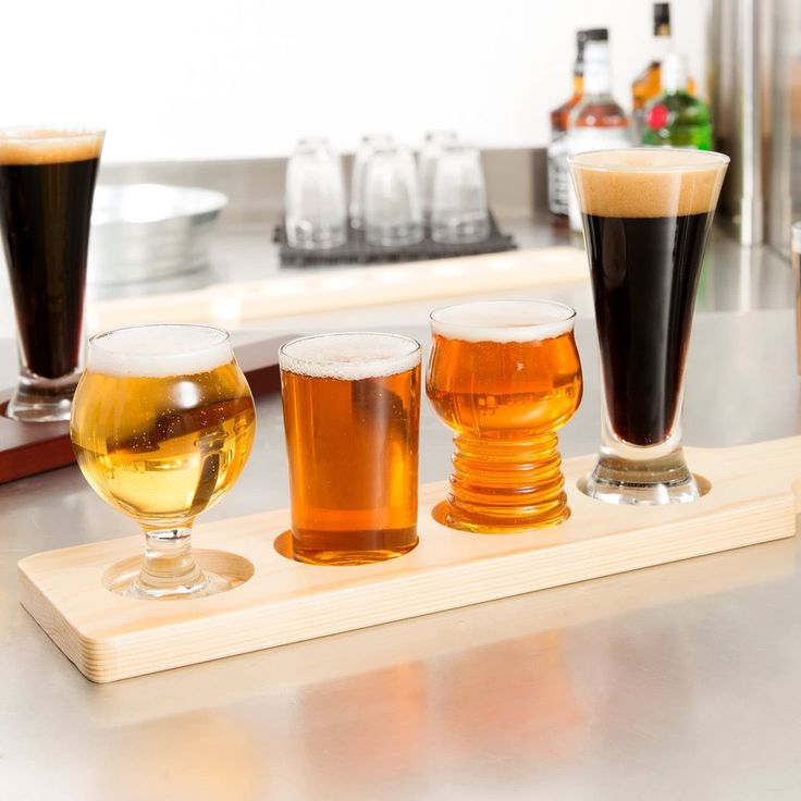 Variety Craft Beer Glasses Flight Set with Wood Paddle #beer #beerlover #giftideas #craftbeer #wishlist #gift #giftsforhim