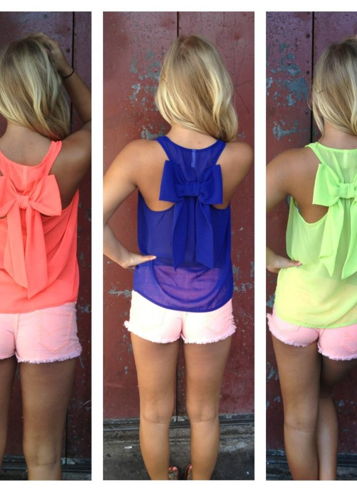Coral Sleeveless Top - Neon Sleeveless Top with Bow   UsTrendy