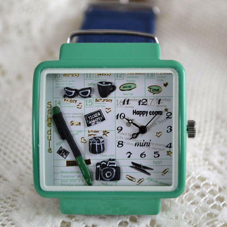 MINI hodinky - Rozvrh - modrozeléné