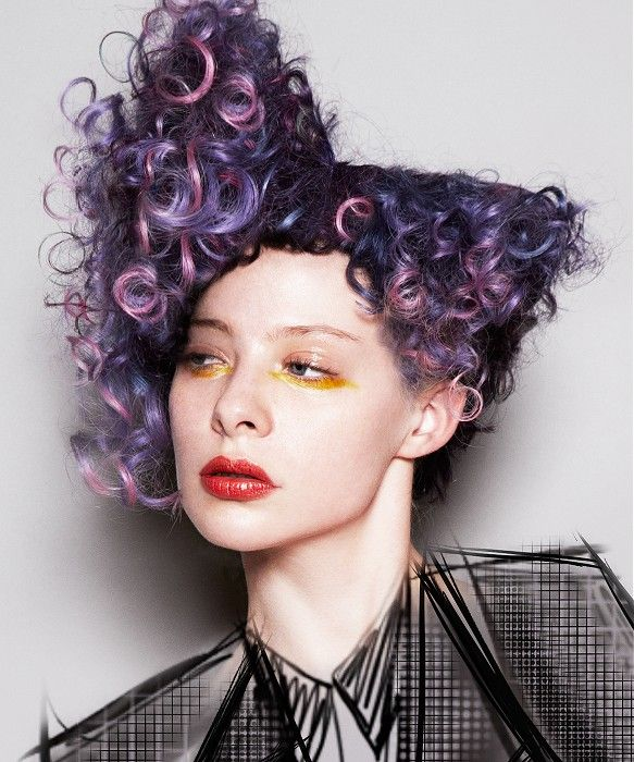 Long Purple Curly Coloured Multi Tonal Avant Garde