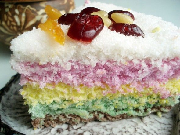 Korean Rainbow Rice Cake (Mujigae ddeok).  Link to recipe